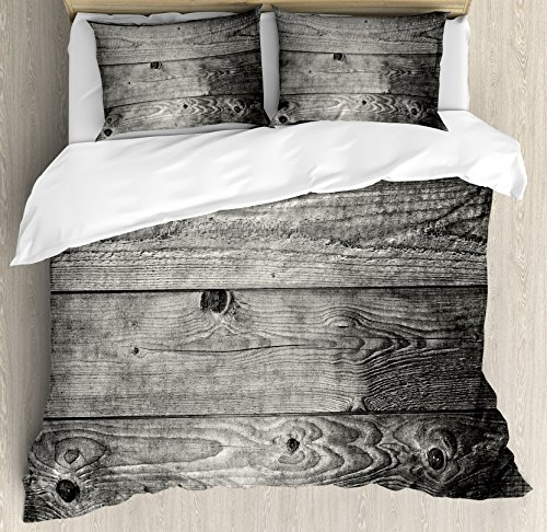 Dark Grey Queen Size Duvet Cover Set by Ambesonne, Ombre Style Grunge Wooden Planks Rustic Timber Oak Wall Rough Texture Image, Decorative 3 Piece Bedding Set with 2 Pillow Shams, Black Pale Grey by Ambesonne