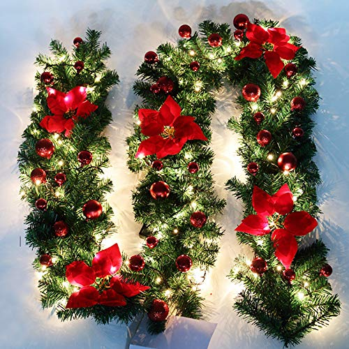 Cherry Juilt 9 Feet Christmas Garland with Lights Decorations Artificial Wreath with Berries and Pinecones Indoors Outdoor Xmas Decorations for Wall Door Stair (Set of 1, Red) - Pole Christmas Frame