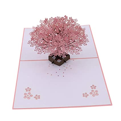 SEVENHOPE Cherry Blossom 3D Pop Up Card Birthday Anniversary Greeting Mothers Day Paper Craft Gift Amazoncouk Kitchen Home
