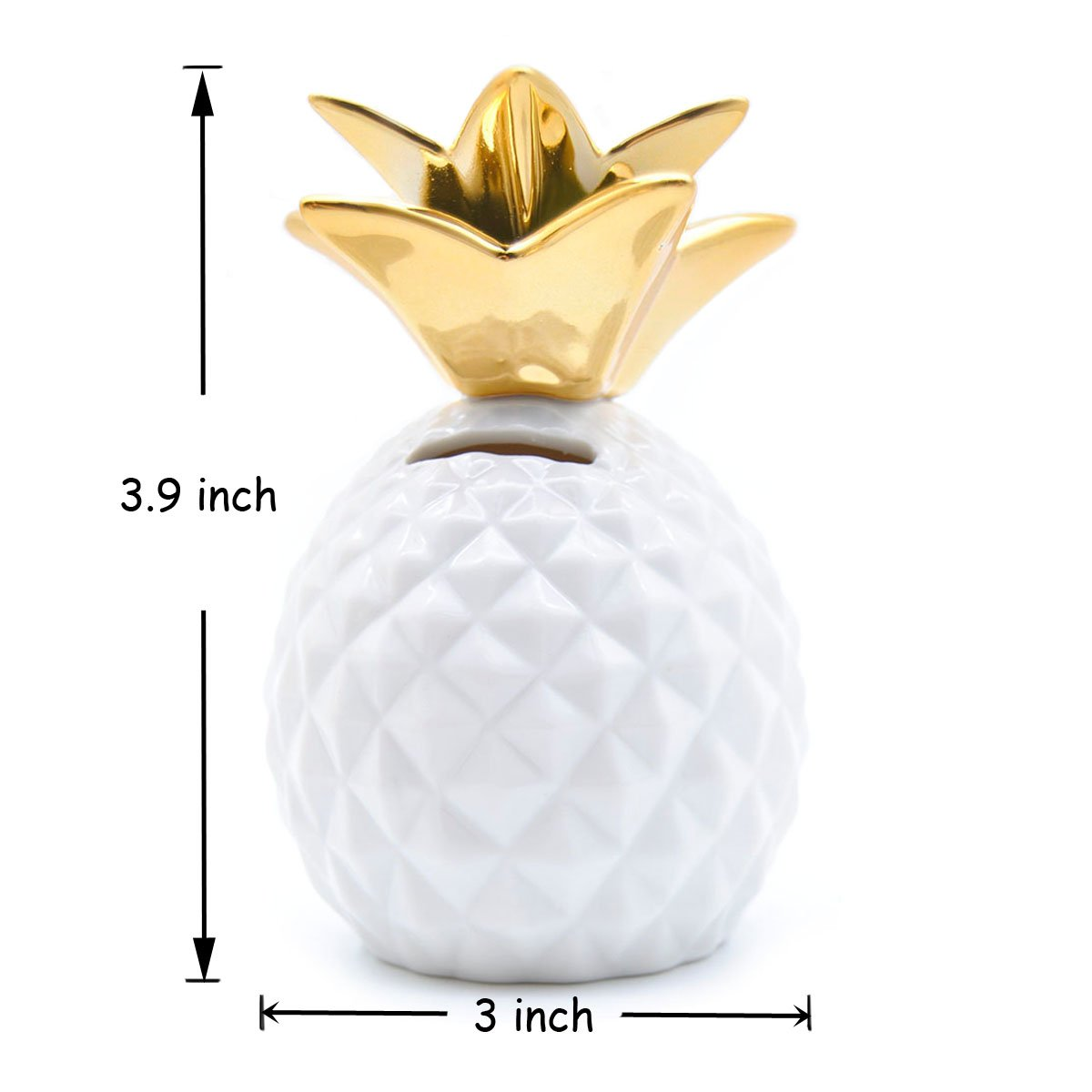 Gold globlepanda Pineapple Girls Piggy Bank Ceramic Pineapples Shape Save Money Cans Decorative Kids Adults Piggy Bank for Home Bedroom Party Decorations Valentines Day Kids Birthday Gifts