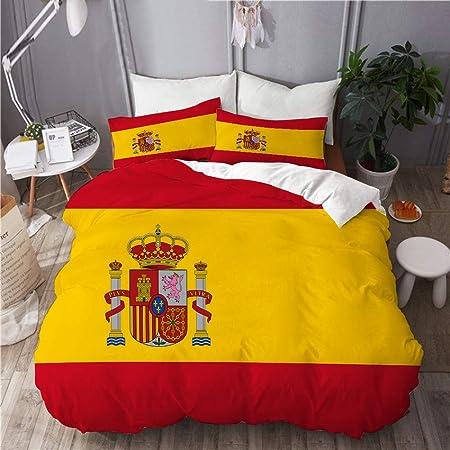 NOLOVVHA Bedding Juego de Funda de Edredón,Bandera española roja de España Armas Dimensiones precisas Proporciones y Colores Amarillo Oficial,Microfibra SIN Relleno,(Cama 140x200 + Almohada): Amazon.es: Hogar