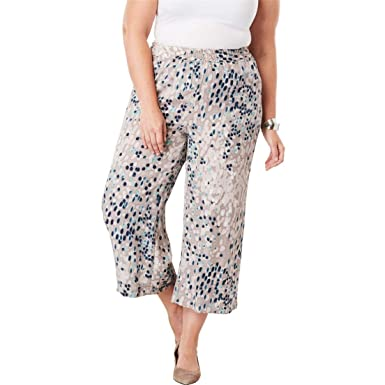 7807ab30f4d Jessica London Women s Plus Size Tencel Wide Leg Pants - Multi Painterly  Dot