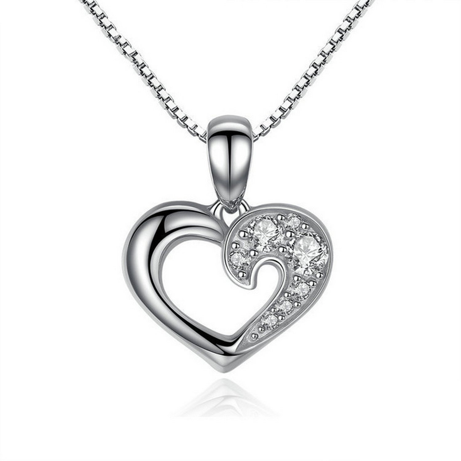 CS-DB Jewelry Silver Our Hearts /& Love Chain Charm Pendants Necklaces