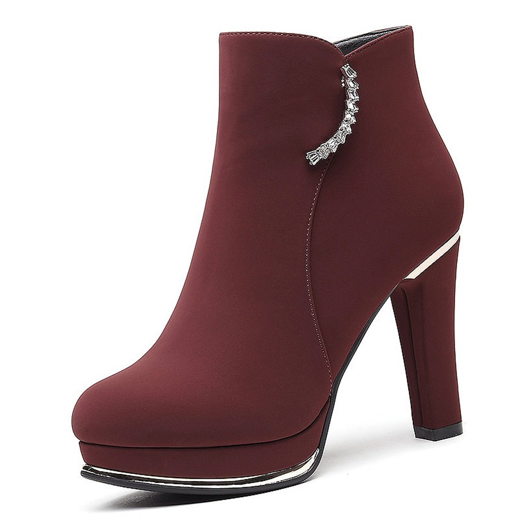 Women's high heels autumn and winter Martin boots fashion trend short boots ( Color : Red , Size : US:6UK:5EUR:37 )