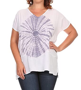 a03385484 T Party PLUS SIZE Front Tie Dye V Neck short Sleeve Top , 1XL, French
