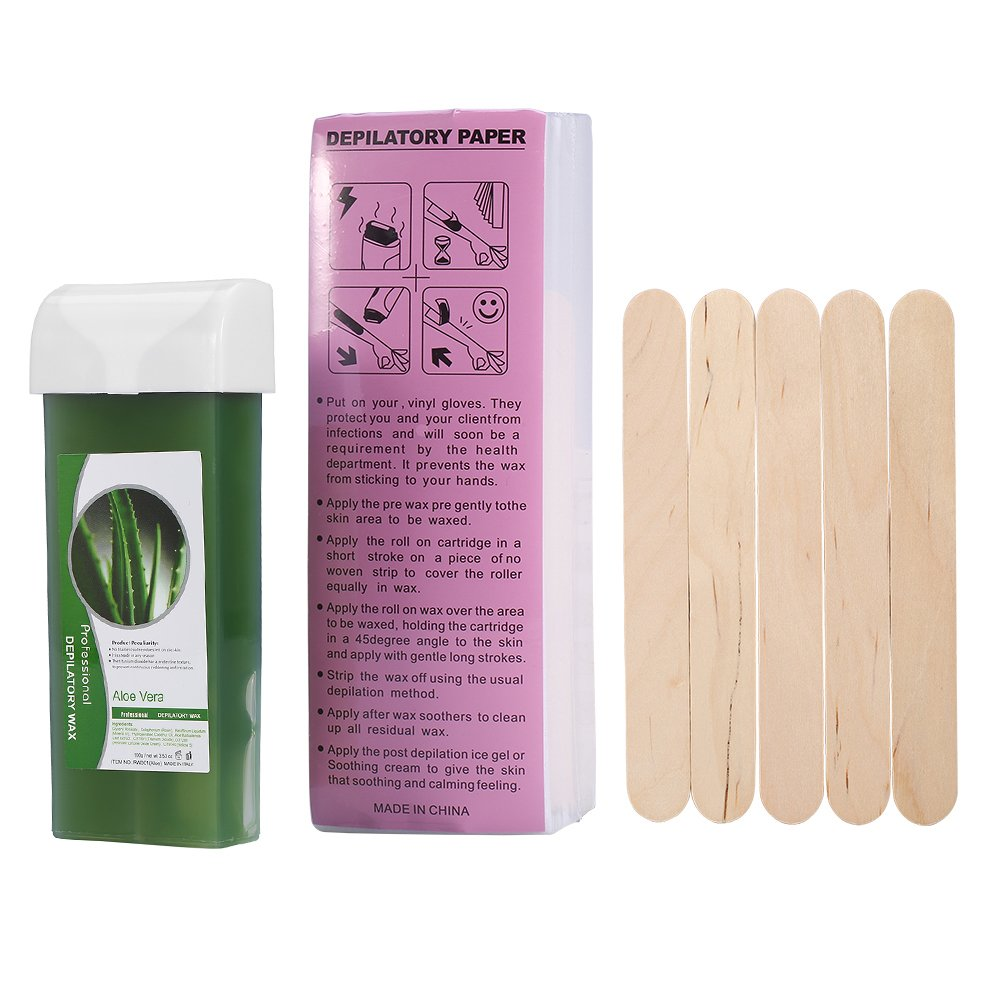 Roll-on Refillable Depilatory Wax Cartridge Sensitive Skin Waxing Strip Wax Hair Removal Salon with Depilatory Paper and Wooden Spatulas (Aloe)
