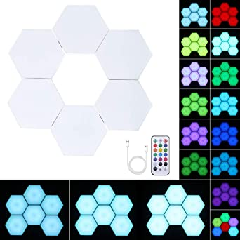 Touch Sensing Easy to Install Color PopHMN Smart Led Light Panels Colour Changing Mood Lighting Changing Remote Control Honeycomb Lights 6pcs