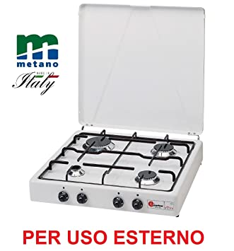 ALTIGASI Hornillo Parker Transmisión Gas Metano (Gas Red Doméstica) con 4 fuegos Color Blanco