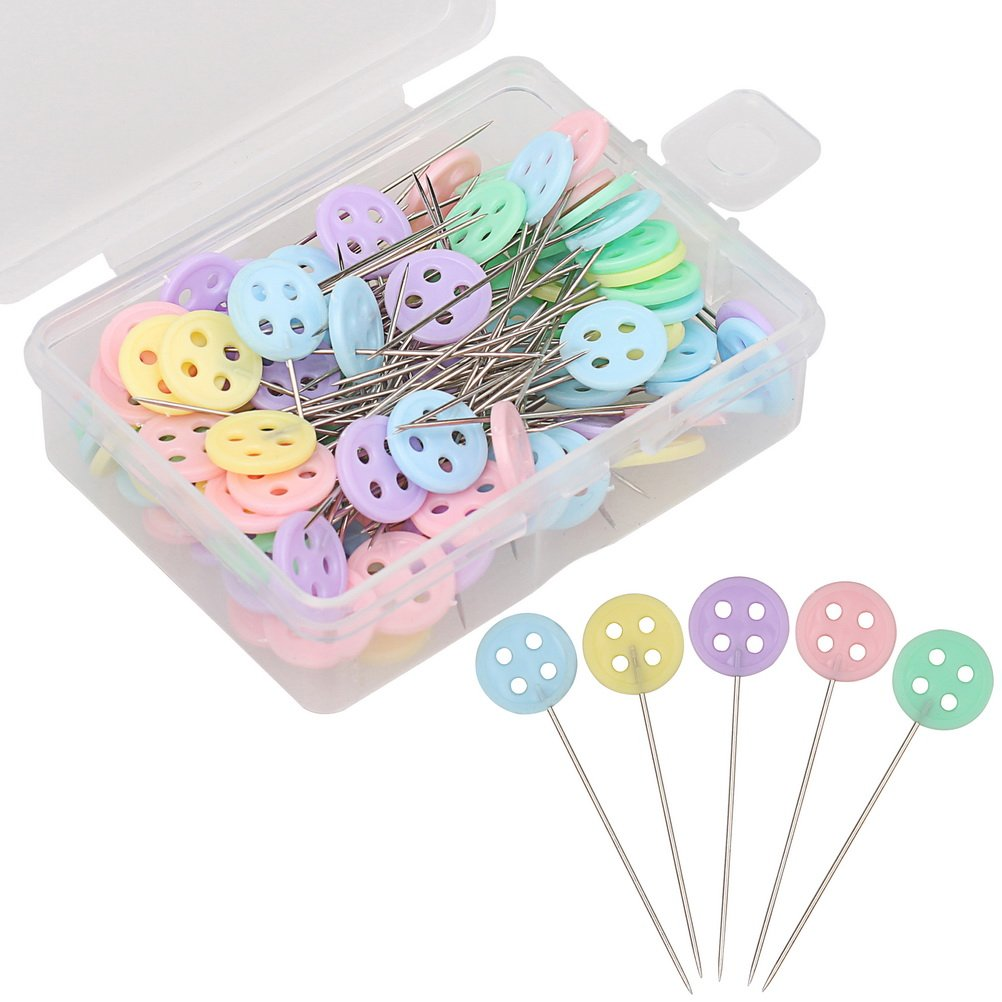Pengxiaomei 200 Pieces Flat Button Head Pins, Assorted Colors Decorative Straight Pins Sewing pins Boxed for Sewing DIY Projects