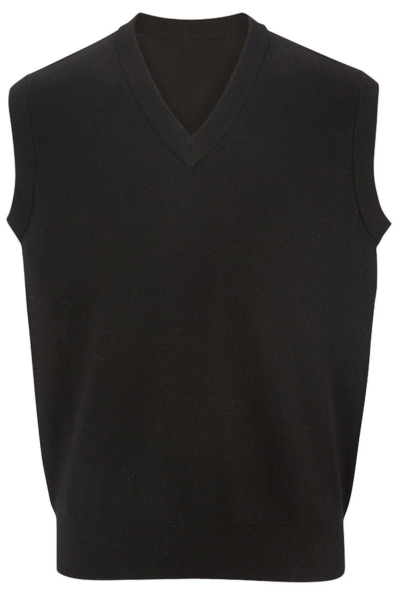 Edwards Unisex Cotton V-neck Vest, BLACK, S