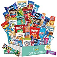 Snack Box Variety Pack (40 Count) Candy Gift Basket for Kids - College Student Care Package - Food Arrangement Chips, Cookies, Bars - Birthday Package for Dad, Men, Women, Boys, Girls, Teens, Adults