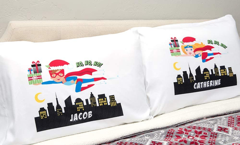 Boys and Girls for Boys - Christmas Edition, Superhero Benjamin Design Unique Customized Pillow Cases Standard Size 21 x 31 Qualtry Personalized for Toddler Kids