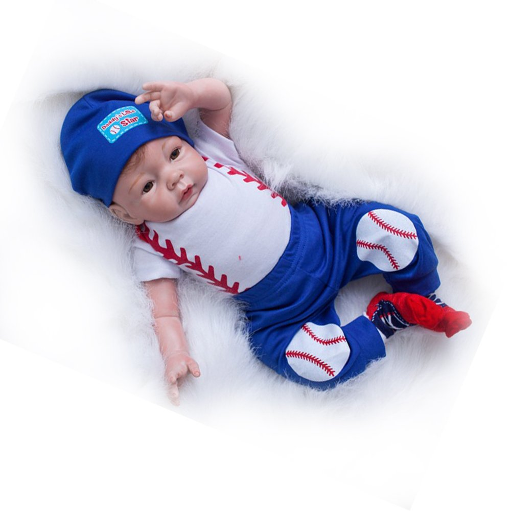 Real Life Reborn Baby Dolls Boy Baseball Sport Style White and Blue Outfit 22 inches