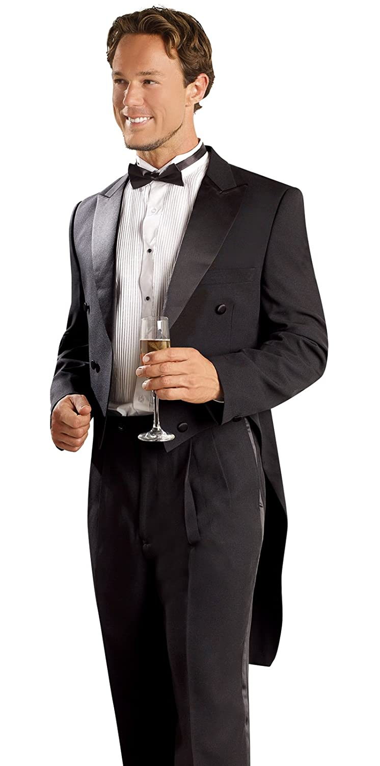 Victorian Men's Tuxedo, Tailcoats, Formalwear Guide E.J. Mens 2 Piece Black Tailcoat Tuxedo Mens Suit TUX107Black $98.99 AT vintagedancer.com