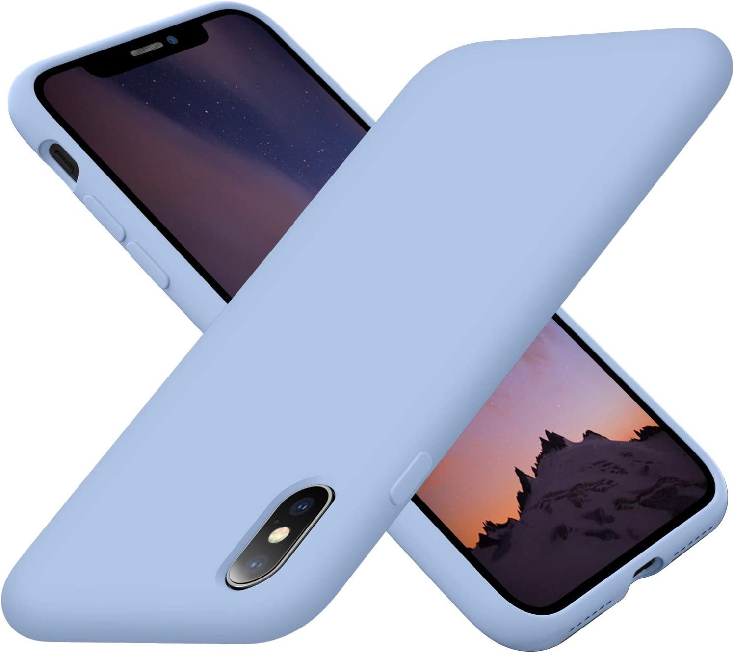 Cordking Xs Max iPhone case, Silicone Ultra Slim Shockproof Protective Phone Case with [Soft Anti-Scratch Microfiber Lining], 6.5 inch, Light Blue