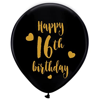 Amazon Black 16th Birthday Latex Balloons 12inch 16pcs Boy Girl Gold Happy Party Decorations Supplies Toys Games