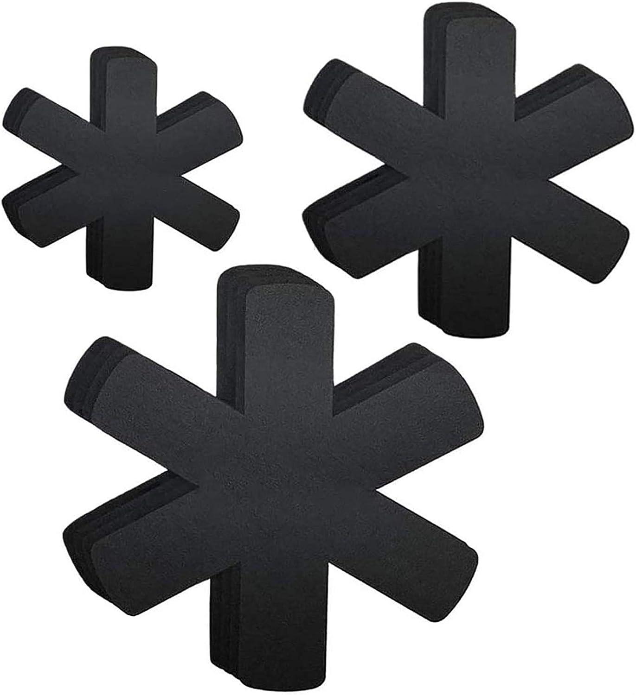 Almohadillas Separadoras de Fieltro para Evitar Ara/ñazos en Utensilios de Cocina Protectores para Sartenes y Ollas Antideslizante 12 Pcs Con 3 Tama/ños Salvamanteles de Tela no Tejidas