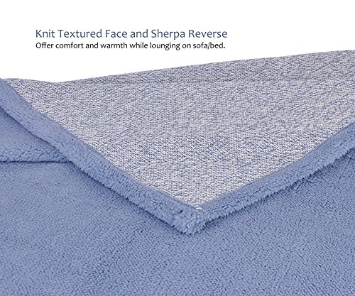 Sherpa Throw Blanket Super Soft Cozy with Plush Fleece for Coach and Bed | Size 50''x 60'' Reversible Warm Knitted Blanket for All Season Blue by Terrania (Image #1)
