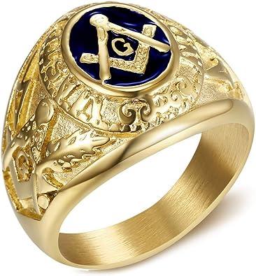 Chevaliere Bague Acier INOX Dor/é Or Fin Franc-Maconnerie Homme Equerre Compas G BOBIJOO Jewelry