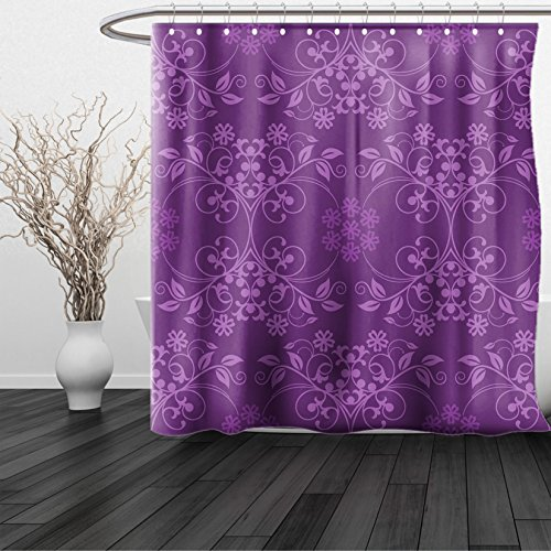 HAIXIA Shower Curtain Eggplant King Gorgeous Well-Formed Flowers on Purple Background Damask Floral Arrangement Ornament Violet