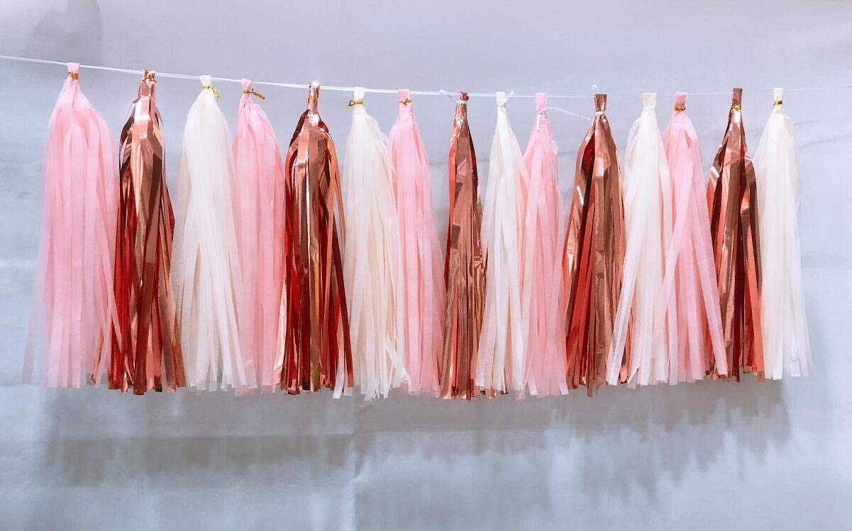 15 Pcs 14 Inches Tissue Paper Tassel Garland Rose Gold Foil Pink and Ivory Tassel Garland for Weddings Birthday Bridal Shower Baby Showers Decor(Rose Gold) Sogorge