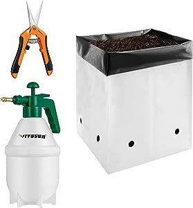 VIVOSUN 50-Pack 1 Gallon Grow Bags with Gardening Hand Pruner Pruning Shear and 0.2 Gallon Hand held Garden Sprayer