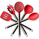 TTLIFE Set de utensilios de cocina set de 5 Piezas(1 Servidor de pasta,1 Paleta ranurada,1 Cuchara de servicio,1 Cucharon sopero,1 Cuchara ranurada)