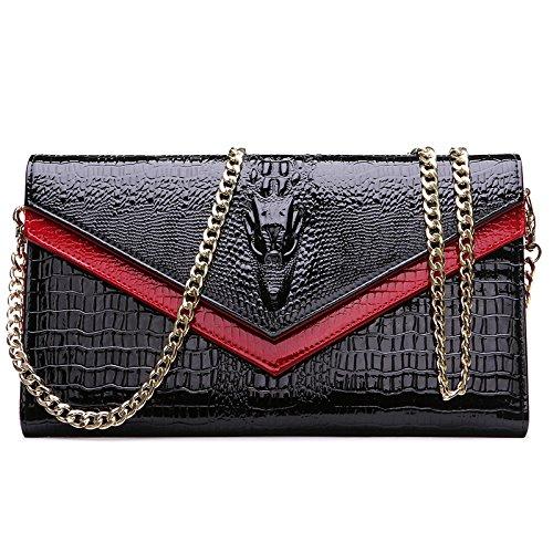 HT Genuine Leather Crossbody Bag - Cartera de mano para mujer Rosso