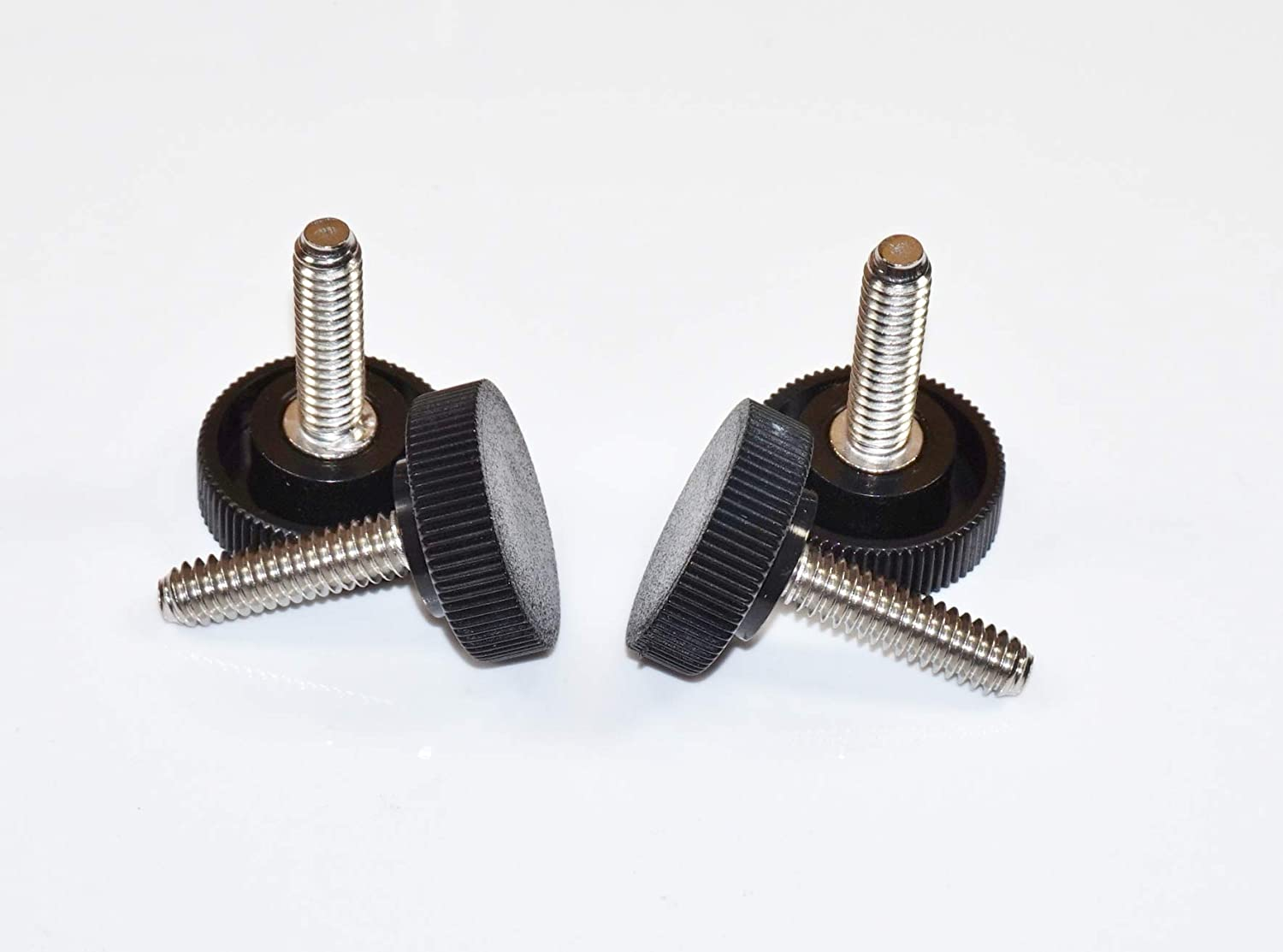 4 1//4-20 x 7//8 Long Stainless Steel Thumb Screws 1 Round Knurled Plastic Head Four