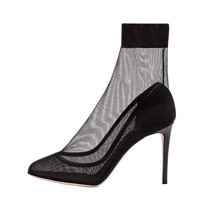 YY De Las Mujeres Puntiagudo Cordón Botines Malla Respirable Antideslizante Estilete Oficina Vestido De Noche Banquete Temperamento Zapatos Individuales ...