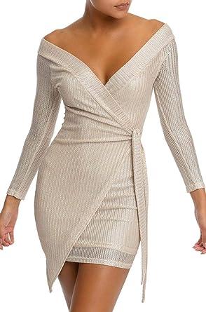 ec34a729542f AKIRA Women's Metallic Glitter Ribbed Knit Off Shoulder Side Tie Tulip Hem  Wrap Mini Dress-Ivory Silver_L at Amazon Women's Clothing store: