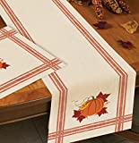 Kay Dee Designs H2527 Harvest Blessings Textured Woven Table Runner with Pumpkin Print