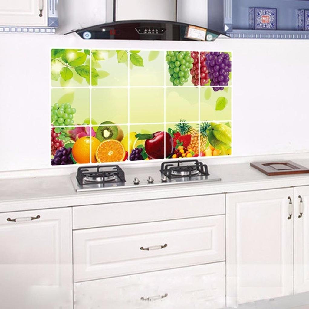 Wall Sticker for Kitchen, Bokeley Kitchen Oilproof Removable Fruit Wall Stickers Art Decor Home Decal