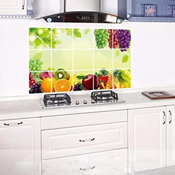 Wall Sticker For Kitchen Bokeley Oilproof Removable Fruit Stickers Art Decor Home Decal Amazon Com Industrial Scientific