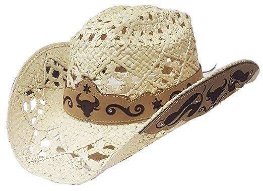 Modestone Straw Sombrero Vaquero Breezer Metal Bull Pattern Appliques Brim  Beige  Amazon.es  Ropa y accesorios 70a0fae8379