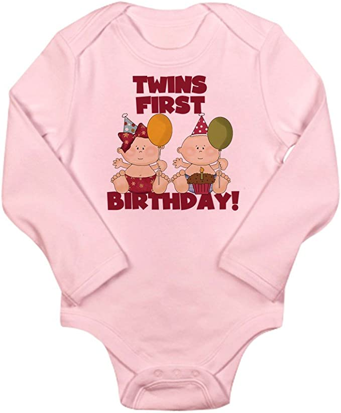 CafePress Twins 1st Birthday Boy//Girl Body Baby Bodysuit