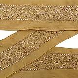 Vintage Indian Sewing Ribbon Trim Light Brown Hand Beaded Used Sari Border 2 Yd