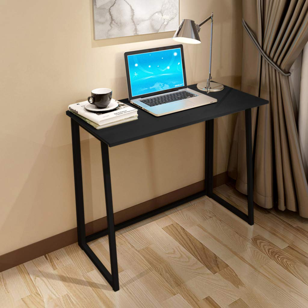 Chenway Desktop Table Home Foldable Laptop Table Office Desk for Bedroom Small Space Desk Black 31.5x17.7x29.1inches [Ship from USA Directly]