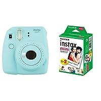 Fujifilm Instax Mini 9 Ice Fotocamera per Stampe, Formato 62 x 46 mm, Azzurro + Instax Mini Film Pellicola Istantanea per Fotocamere Instax Mini, Formato 46x62 mm, Confezione da 20 Foto