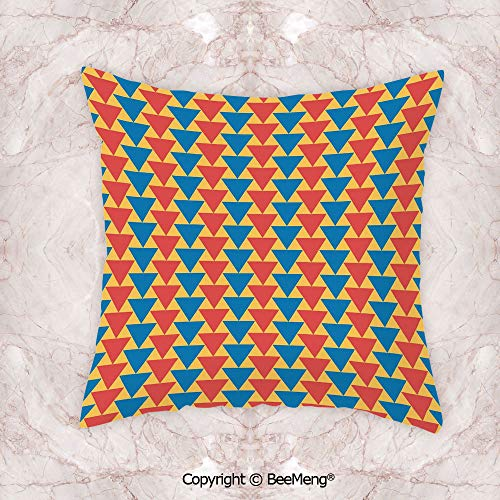 BeeMeng Square Throw Pillow Waist Cushion,Kids,Triangles Downwards Vertical Geometrical Pattern Shabby Colored Retro Tile,Scarlet Blue Marigold,17.7x17.7 Inch,Soft and Comfortable Healthy Kids Room