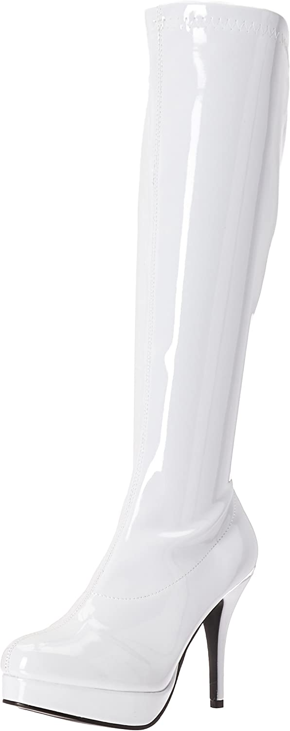Ellie Shoes Women's Groove Boot - 4-Inch Heel Superhero Boots, White, Size 10