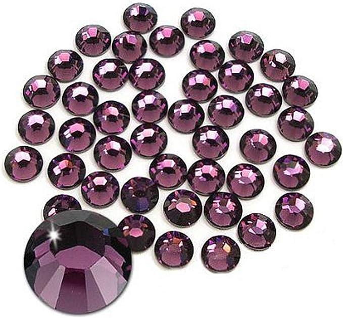 Jollin Glue Fix Crystal Flatback Rhinestones Glass Diamantes Gems for Nail Art Crafts Decorations Clothes Shoes(ss3 2880pcs, Amethyst)   Amazon