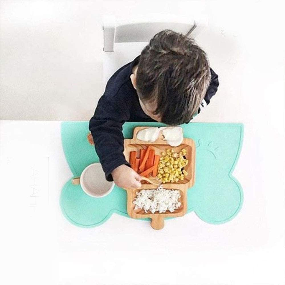 Reiko Silicone Bear Placemats Non Slip Tablemats Waterproof Meal Mat Foldable Easy Clean Heat Resistance Dishwasher /& Microwave Safe Tableware for Baby Infant Toddlers