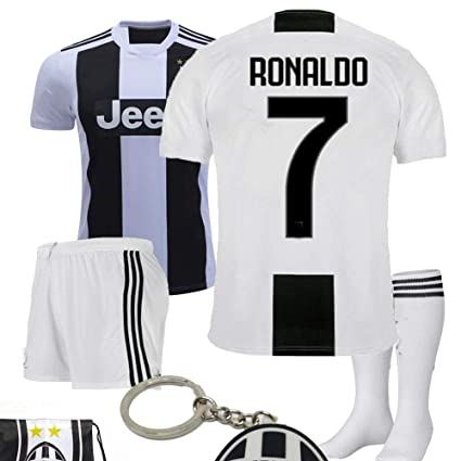 sneakers for cheap 5c6af 71f37 Juventus Serie A 2018 19 Ronaldo Dybala Replica Jersey Kid Kit : Shirt,  Short, Socks, Soccer Bag and PVC Key
