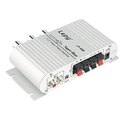 12V Mini Amplificador Hi-Fi Amplificador de Radio con Puerto USB FM para el Coche