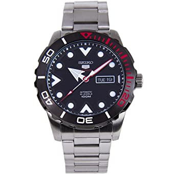 87ddf455a Image Unavailable. Image not available for. Color: Seiko 5 Sports SRPA07 J1 Black  Face Stainless Steel Automatic ...