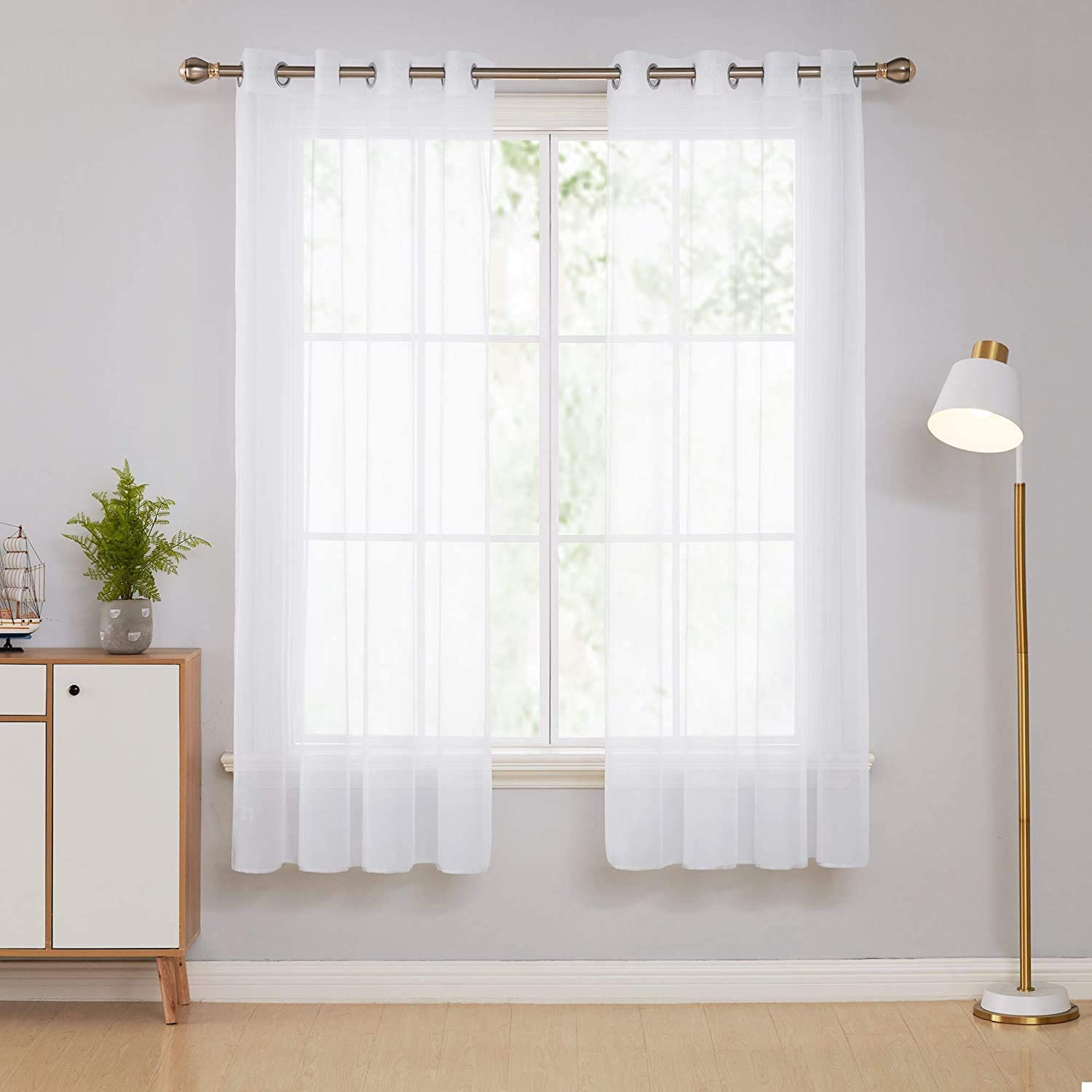 """Deconovo Sheer Curtains Solid Semi Transparent Voile Window Net Curtains Eyelet Semi Voile Curtains Decorative Super Soft Voile Curtains for Bedroom 52 x 63 Inch White 2 Panels 2x W52""""xL63"""" White"""
