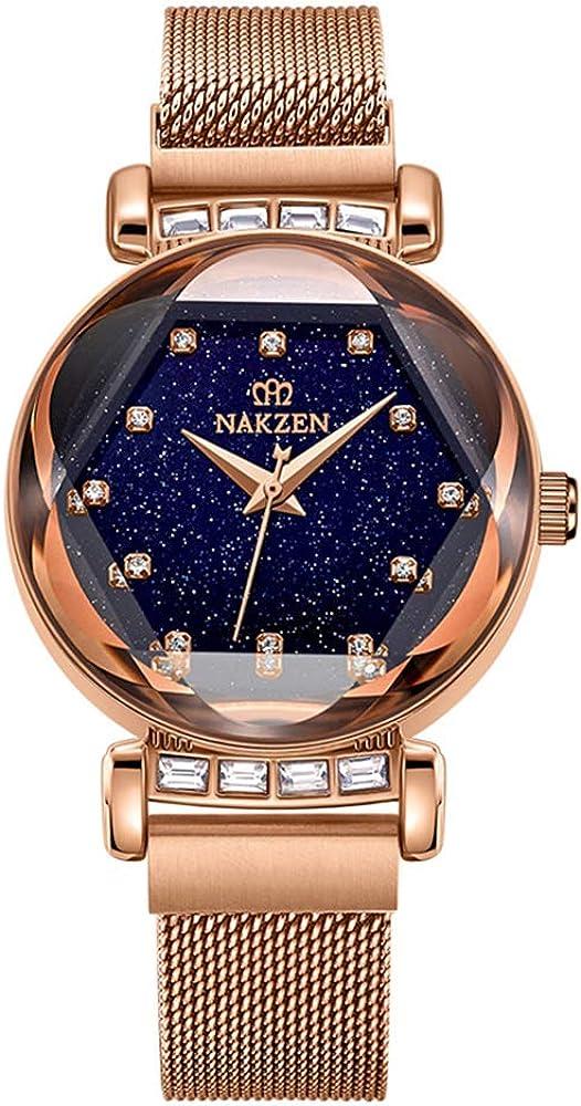 (Rojo/Dorado/Morado) Reloj para Mujer NAKZEN Reloj de Cuarzo a Prueba de Agua con Esfera de Cielo Estrellado y Diamantes Relojes de Vestir Sencillos para niñas
