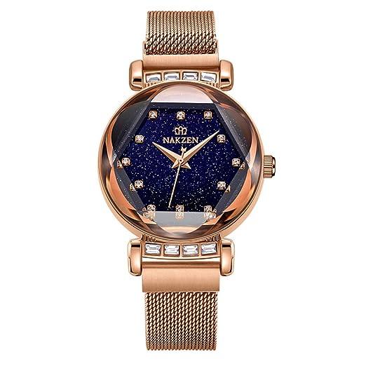 (Rojo / Dorado) Reloj para mujer NAKZEN Reloj de cuarzo a prueba de agua