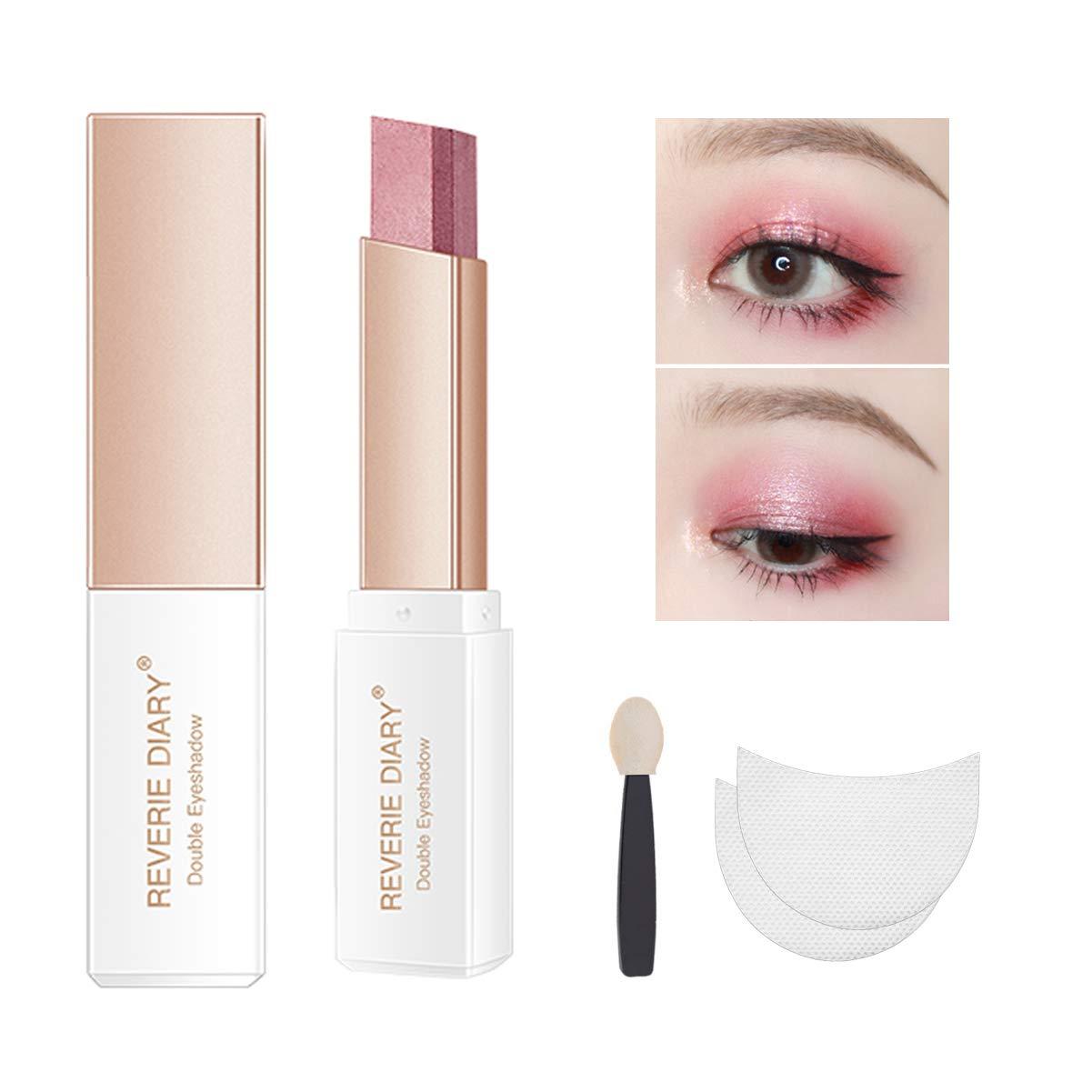 Three-piece eyeshadow stick eyeshadow prush eyeshadow sticker, eyeshadow stick two-color gradient glitter eye shadow pen rotating design, simple makeup, waterproof and not Blooming(PinkRose)